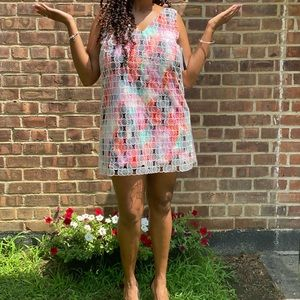 0401 Multicolored French Connection Shift Dress